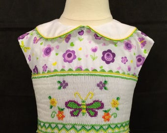 Hand Smocked Sleeveless Dress