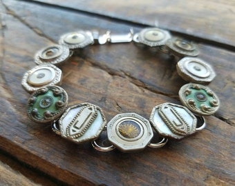Beautiful Vintage Antique Metal Cufflinks Bracelet Jewelry One Of A Kind OOAK Unique Upcycled Repurposed