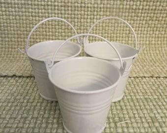 "Little white tin buckets,SET of 3,Wedding Shower Birthday Favors,Party Supplies,Decor, 2"""