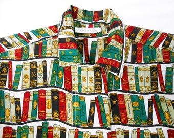 Librarian Shirt/ Secretary Blouse/ 90s Button Up Shirt/ Bibliophile/ Silk Button Down/ Baroque Shirt/ All Over Print Shirt/ Library Shirt