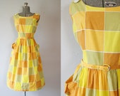1950's Yellow Geometric Print Sundress / Size Large