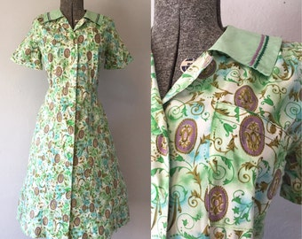 1950's Green Cotton Day Dress / Size Large XLarge