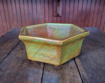 Vintage Haeger Pottery Planter Bowl 4003 U.S.A. in Green/Brown Tones, Hexagon Shaped Pottery Bowl, 1950s, 1960s, Home Decor, Pottery Planter