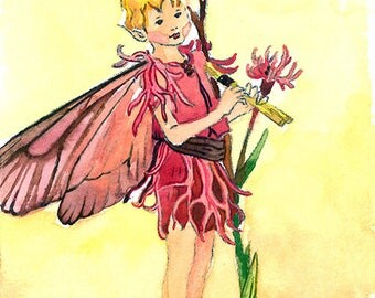 ACEO Limited Edition 1/25-Ragged robin flower fairy inspired by Cicely Mary Barker,Flower fairy art print of original ACEO watercolor