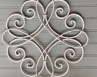 White Metal Wall Hanging / Metal Wall Decor  / Decorative Wall Hanging / White Wall Decor /Swirled Metal /Outdoor /Round