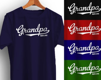 GRANDPA T-Shirt Fathers Day Christmas Gift Personalized with year Father's Many Colors S-XL-4XL