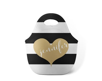 Personalized Lunch Tote - Taupe Heart - Custom Lunch tote for Children