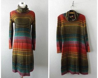 stripe 70s sweater dress - vintage knit midi length dresses - size m/medium - hippie boho cowl neck blouse tunic - 1970s bohemian hipster