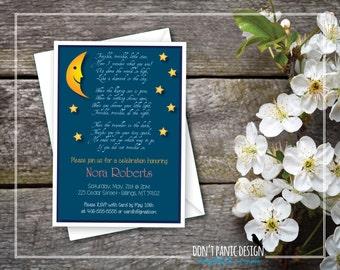 Printable Baby Shower Invitation - Adorable, Twinkle Twinkle Little Star - Custom Color