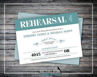 Classic, Formal Rehearsal Dinner Digital Printable Invitation - Turquoise and Black - Custom Colors