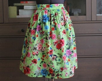 Flower Floral Print Skirt Knee Length Skirt