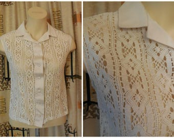 SALE Vintage 1950s Blouse Cream Cotton Crocheted Lace Diamond Floral Pattern Sleeveless Rockabillly Blouse Sheer Lace Blouse M chest 38