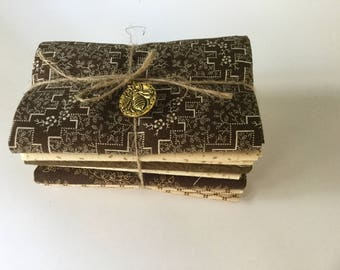 Fat Quarter bundle of 6 - Brown and Cream Reproduction prints .