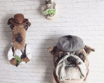 Poker playing Dogs Faux Taxidermy |wall art | poker| cards| bulldog | Schnauzer|chiahuahua|cigar|pipe|home decor| wall mounted heads|