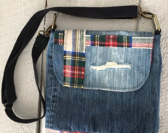 Denim Flannel Lined Purse  Cross Body Pockets Recycled Denim