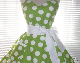 PLUS SIZE Fifties Style Retro Apron Lime Green with White Jumbo Dots Circular Flirty Skirt Satin Edge Organza Trimming