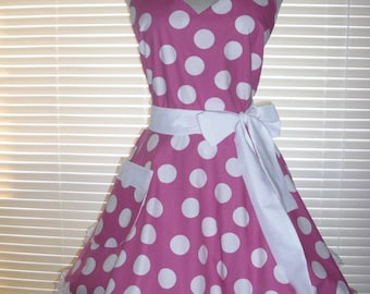 Fifties Style Retro Apron Raspberry Pink with White Jumbo Dots Circular Flirty Skirt Satin Edge Organza Trimming