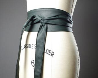 Vegan Leather Obi Belt - Green Leather Obi Belt - Women's Wrap Belt - Up-cycled Obi Belt