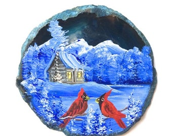 Hand Painted Brazilian Agate Magnet Blue Mountain Winter Cabin and Cardinals