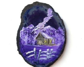 Hand Painted Brazilian Agate Magnet Lavender Mountain Cabin