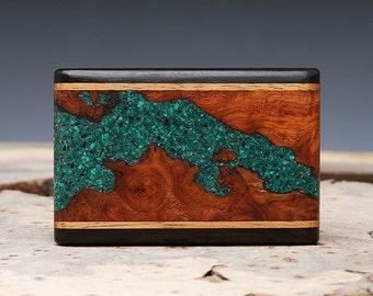 Exotic Wood and Malachite Inlaid Belt Buckle - Handmade