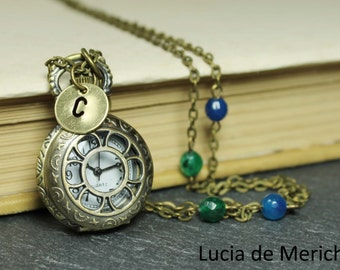 Initial Pocket Watch necklace - Christmas gift -Bridal gift - Coupon code -Personalized - Custom colors