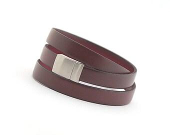 Marsala Genuine Leather Mens Bracelet, Dark Red Modern Leather Bracelet, Men Jewelry, Leather Cuff for Men, gift for dad