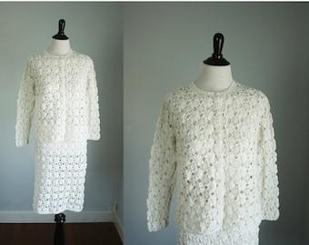 SALE 40% OFF 1960s crochet dress | vintage 60s suit