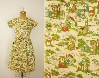 1950s Swirl dress   vintage 50s novelty print wrap dress