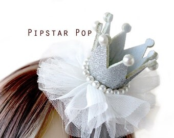 Silver and Pearl  Princess crown hair clip (5 color option)  Lolita glitter crown barrette,birthday crown,party favor, princess peach