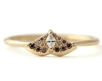 Gold Moth Ring, Diamond Moth Ring, Alternative Engagement Ring, Brown Diamond Engagement Ring, Butterfly Ring, Bohemian Ring, Boho Jewelry