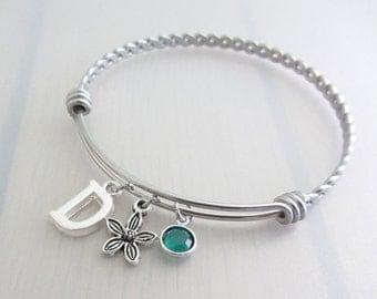 Flower Charm Stainless Steel Bangle, Birthstone Initial Bangle, Personalised Silver Letter Charm Bracelet, Adjustable Bangle, Gardeners Gift