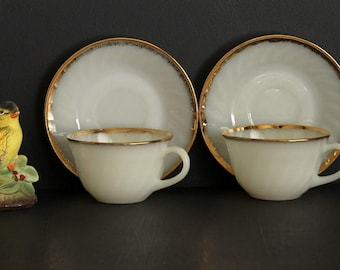 Vintage Fire King Coffee Cup and Saucer Set Of 2 Oven Ware Tea Cups and Saucers