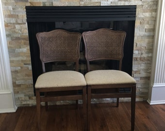 Vintage Chair Folding Chair Cane Woven Danish Modern Walnut Retro Mid Century Extra Seating Pair Picnic Dining Patio RV Seating Chic Chairs