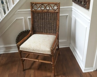 Vintage Chair Rattan Bamboo Chair Cane Indonesia Chinoiserie Seating Mid Century Eclectic Boho Hollywood Regency Seat Desk Chair Home Decor