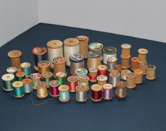 Lot of 46 Vintage Wooden Spools of Thread, Craft Spools, Craft Supplies, Sewing Supplies