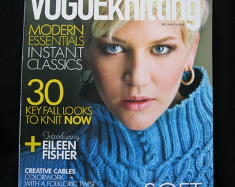 Vogue Knitting International, Fall 2014, 120 pages, modern essentials, fall looks, Eileen Fisher, creative cables, runway knits, sculpture