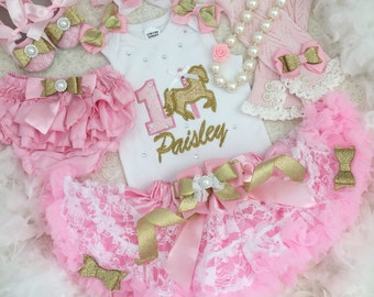 3-pcs set carousel horse Birthday outfit- include top, super fluffy skirt and matching headband