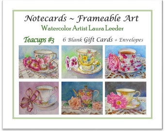 Teacup Series 3 - 6 Blank Notecards, Party Favors