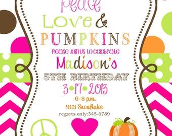 12 Pumpkin Birthday party Invitations with envelopes - Fall- Halloween-hayride- bonfire-any age-peace. love, pumpkins