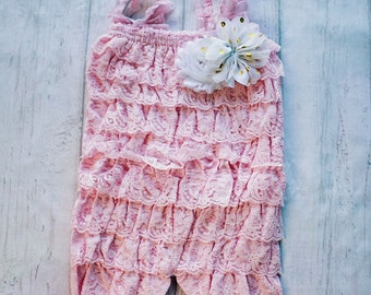 Pink Cake Smash Outfit, Lace Petti Romper, Pink Lace Romper, Petti Romper, Baby Romper, First Birthday Outfit, photo prop, Ruffle Romper