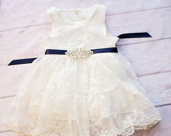 Rustic Flower Girl Dress, Rustic Flower Girl Dress, White Lace Dress Navy Sash, Rustic Lace Flower Girl Dress, White Baptism Dress