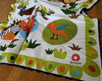 Large Minky Baby Blanket - Zoo Animals - Blue White and Green - Baby Boy - Ready to Ship