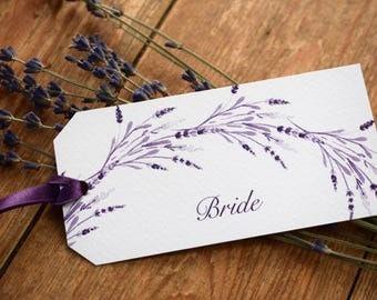 Lavender Wedding Place Card Tag