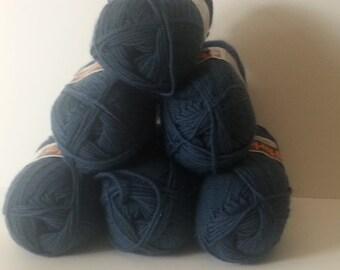 Six Skeins of Parley Denim Blue Wool Yarn/2 Ply Sport Yarn