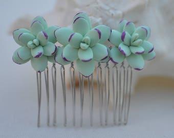 Trio Light Mint Green-Purple Succulent Hair Comb