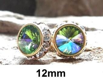 Peridot Earrings, Peridot Shimmer, Peridot Studs, Gold Surrounds, Swarovski, Rivoli Studs, Green Earrings,Large Flat back Studs, 12mm Studs