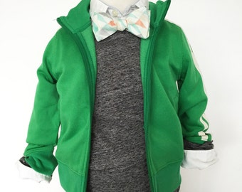 Faded Triangle White, Mint, Coral Bow Tie