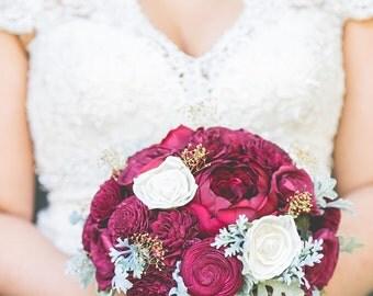 Wedding Bouquet, Sola wood Bouquet, Bridal Bouquet, Alternative Bouquet, Sola Bouquet, Sola flowers, Wood Bouquet, Burgundy bouquet
