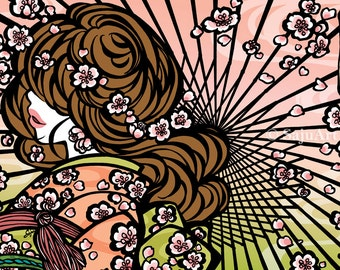 "Postcard ""Bangasa and Cherry Blossoms"" - asian beauty - japanese - kimono girl - flower -pink - green - spring"